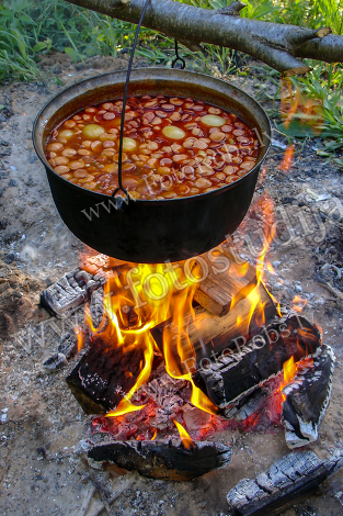 Soup on campfire
