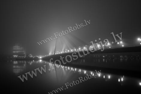 Cable bridge in the fog