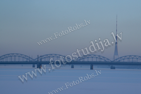 Railway bridge in winter