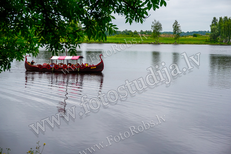 Viking boat in river