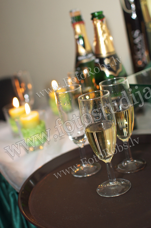 three glasses with champagne