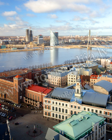 The view of Riga on a sunny day