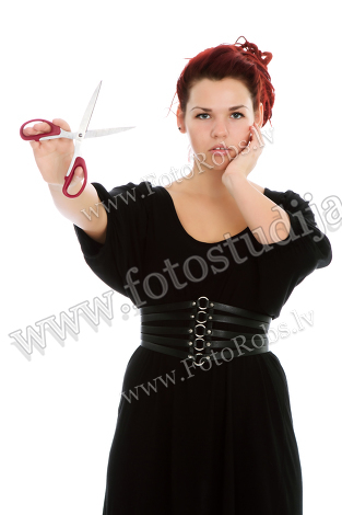 Modern girl with scissors