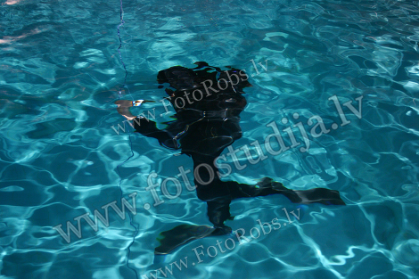 Diver moving underwater